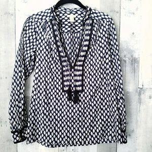 J. Crew Odessa printed cotton tassel tunic size 0